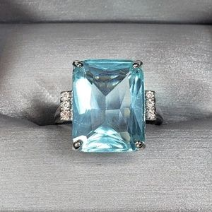 Silver & Baby Blue Ring - Size 6.5